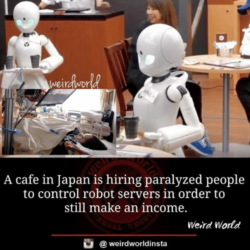 paralyzed: A cafe in Japan is hiring paralyzed people  to control robot servers in order to  still make an income,  Weird World  @ weirdworldinsta
