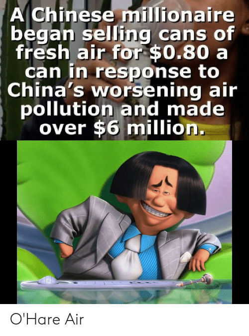 Fresh, Chinese, and Air: A Chinese millionaire  began selling cans of  fresh air for $0.80 a  can in response to  China's worsening air  pollution and made  over $6 million. O'Hare Air
