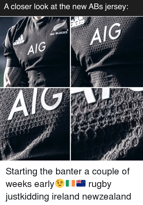Ireland, Rugby, and Aig: A closer look at the neW ABs jersey:  IG  ALL BLACKS  AIG  re  d haveinev Starting the banter a couple of weeks early😉🇮🇪🇳🇿 rugby justkidding ireland newzealand
