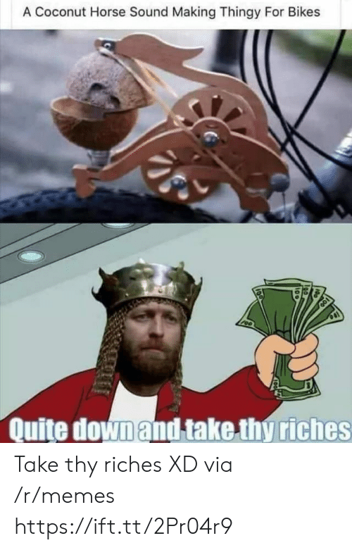 Riches: A Coconut Horse Sound Making Thingy For Bikes  Quite down and take thy riches Take thy riches XD via /r/memes https://ift.tt/2Pr04r9