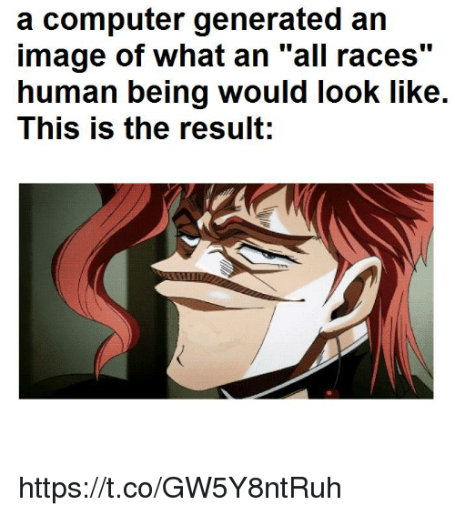 """Generated: a computer generated an  image of what an """"all races""""  human being would look like.  This is the result;  110 https://t.co/GW5Y8ntRuh"""
