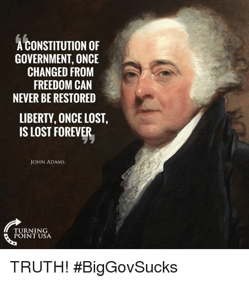 Memes, Lost, and Constitution: A CONSTITUTION OF  GOVERNMENT, ONCE  CHANGED FROM  FREEDOM CAN  NEVER BE RESTORED  LIBERTY, ONCE LOST,  IS LOST FOREVER  JOHN ADAMS  TURNING  POINT USA TRUTH! #BigGovSucks
