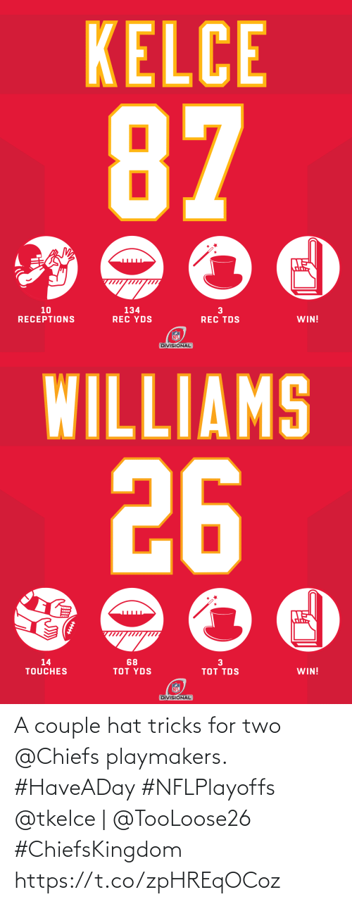 tricks: A couple hat tricks for two @Chiefs playmakers. #HaveADay #NFLPlayoffs  @tkelce | @TooLoose26 #ChiefsKingdom https://t.co/zpHREqOCoz