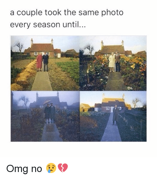 coupling: a couple took the same photo  every season until Omg no 😢💔
