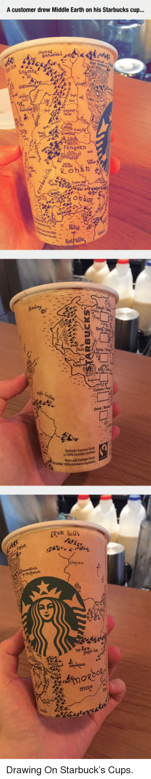 middle earth: A customer drew Middle Earth on his Starbucks cup...  ous alet  Custom/Pes  Drink / Boiss  0  Starbucks Espresso Roas  is 100% Fairtrade Cette  thé 100%commerce  ale Espresso Rast  Ron hills <p>Drawing On Starbuck's Cups.</p>