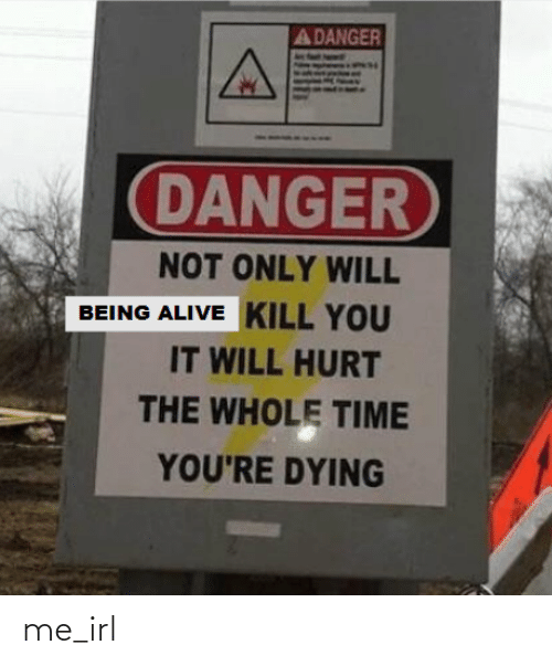 Alive, Time, and Irl: A DANGER  DANGER  NOT ONLY WILL  BEING ALIVE KILL YOU  IT WILL HURT  THE WHOLE TIME  YOU'RE DYING me_irl