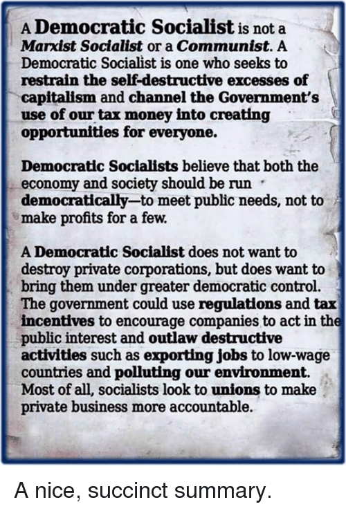 Memes, Money, and Run: A Democratic Socialist is not a  Marxist Socialist or a Communist. A  Democratic Socialist is one who seeks to  restrain the self-destructive excesses of  capitalism and channel the Government's  use of our tax money into creating  opportunities for everyone.  Democratic Socialists believe that both the  economy and society should be run  democratically-to meet public needs, not to  make profits for a few.  A Democratic Socialist does not want to  destroy private corporations, but does want to  bring them under greater democratic control.  The government could use regulations and tax  incentives to encourage companies to act in the  public interest and outlaw destructive  activities such as exporting jobs to low-wage  countries and polluting our environment.  Most of all, socialists look to unions to make  private business more accountable. A nice, succinct summary.
