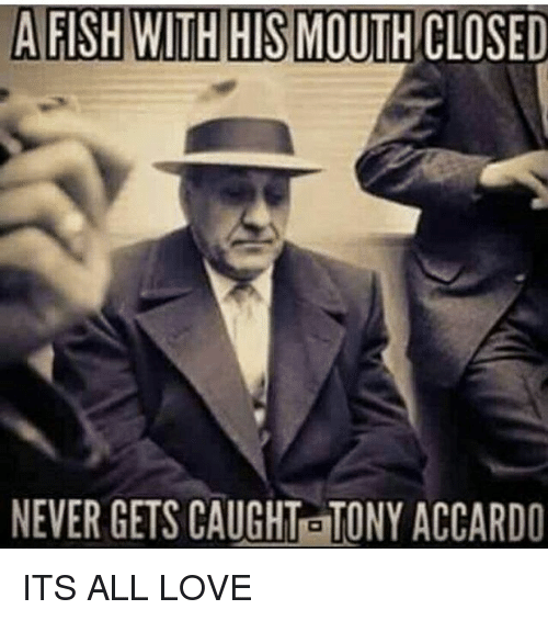 Memes, Fish, and Fishing: A FISH WITH HIS MOUTH CLOSED  NEVER GETS CAUGHTETONY ACCARDO ITS ALL LOVE