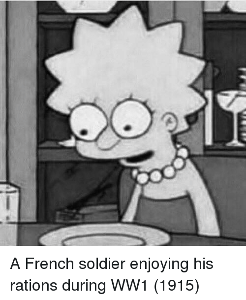 ww1: A French soldier enjoying his rations during WW1 (1915)