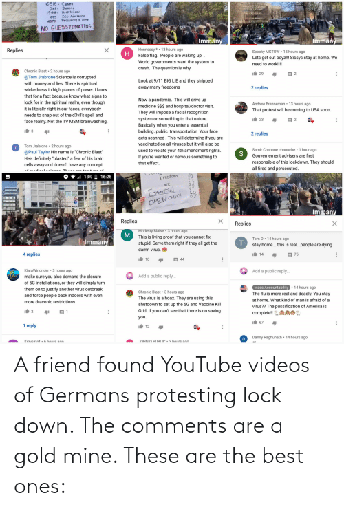 germans: A friend found YouTube videos of Germans protesting lock down. The comments are a gold mine. These are the best ones:
