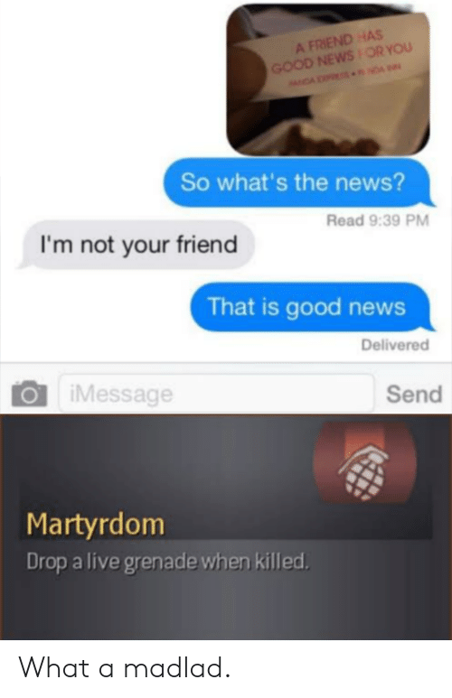 imessage: A FRIEND HAS  GOOD NEWSOR YOU  NDA NDA  So what's the news?  Read 9:39 PM  I'm not your friend  That is good news  Delivered  iMessage  Send  Martyrdom  Drop a live grenade when killed What a madlad.