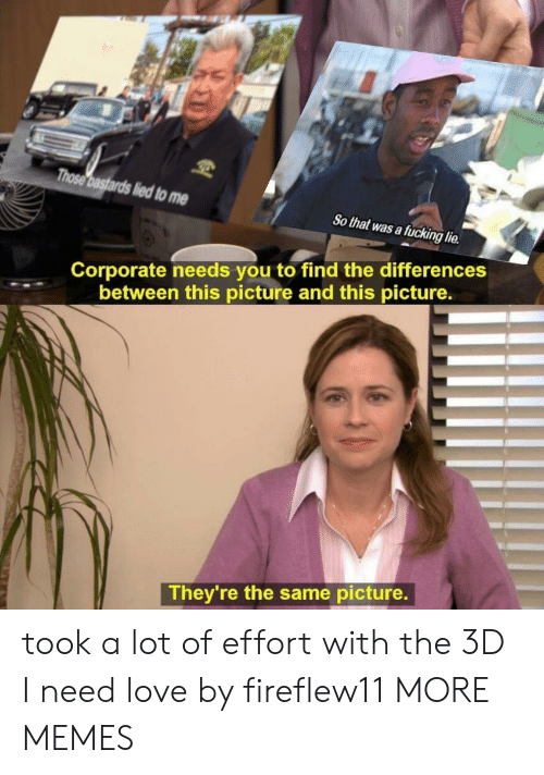 Dank, Fucking, and Love: a fucking lie  Corporate needs you to find the differences  between this picture and this picture.  They're the same picture. took a lot of effort with the 3D I need love by fireflew11 MORE MEMES