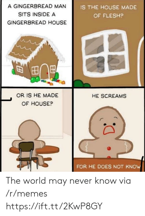 gingerbread man: A GINGERBREAD MAN  SITS INSIDE A  GINGERBREAD HOUSE  IS THE HOUSE MADE  OF FLESH?  OR IS HE MADE  OF HOUSE?  HE SCREAMS  FOR HE DOES NOT KNOW The world may never know via /r/memes https://ift.tt/2KwP8GY