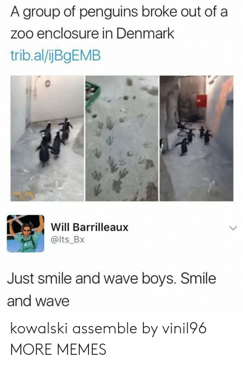 Penguins: A group of penguins broke out of a  zoo enclosure in Denmark  trib.al/ijBgEMB  Will Barrilleaux  @lts_BX  Just smile and wave boys. Smile  and wave kowalski assemble by vinil96 MORE MEMES