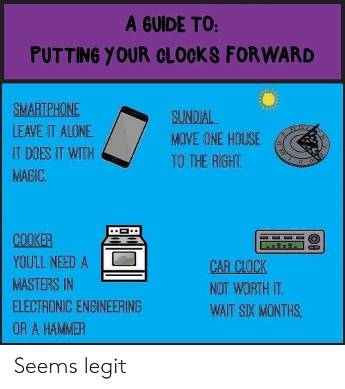 Being Alone, Clock, and Funny: A GUIDE TO:  PUTTING YOUR CLOCKS FORWARD  SMARTPHONE  LEAVE IT ALONE  IT DOES IT WITH  MAGIC  SUNDIAL  MOVE ONE HOUSE  TO THE RIGHT.  COOKER  YOULL NEED A  MASTERS IN  ELECTRONIC ENGINEERING  OR A HAMMER  CAR CLOCK  NOT WORTH IT  WAIT SIX MONTHS Seems legit