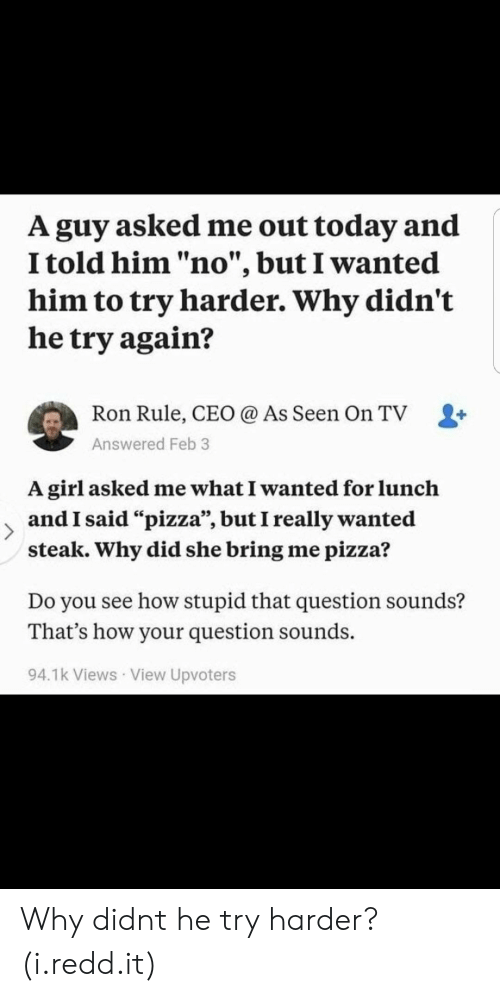"""Try Harder: A guy asked me out today and  I told him """"no"""", but I wanted  him to try harder. Why didn't  he try again?  Ron Rule, CEO @ As Seen On TV L+  Answered Feb 3  A girl asked me what I wanted for lunclh  and I said """"pizza"""", but I really wanted  steak. Why did she bring me pizza?  Do you see how stupid that question sounds?  That's how your question sounds.  94.1k Views View Upvoters Why didnt he try harder? (i.redd.it)"""
