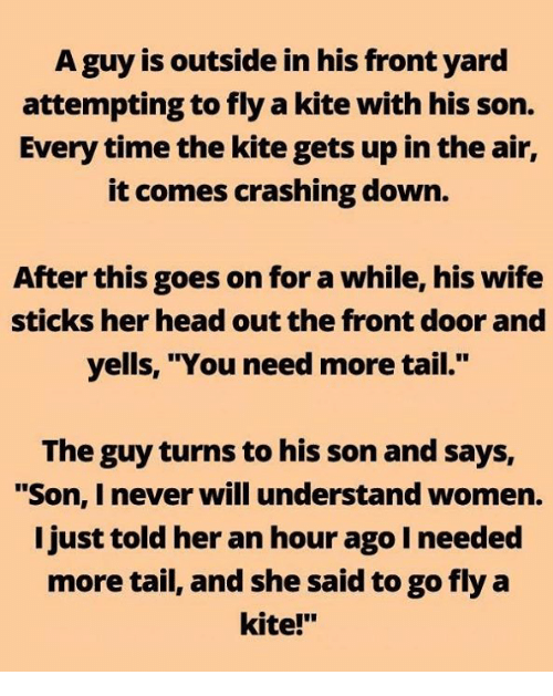 "Head, Memes, and Time: A guy is outside in his front yard  attempting to fly a kite with his son.  Every time the kite gets up in the air,  it comes crashing down.  After this goes on for a while, his wife  sticks her head out the front door and  yells, ""You need more tail.""  The guy turns to his son and says,  ""Son, I never will understand women.  I just told her an hour ago I needed  more tail, and she said to go fly a  kite!"""