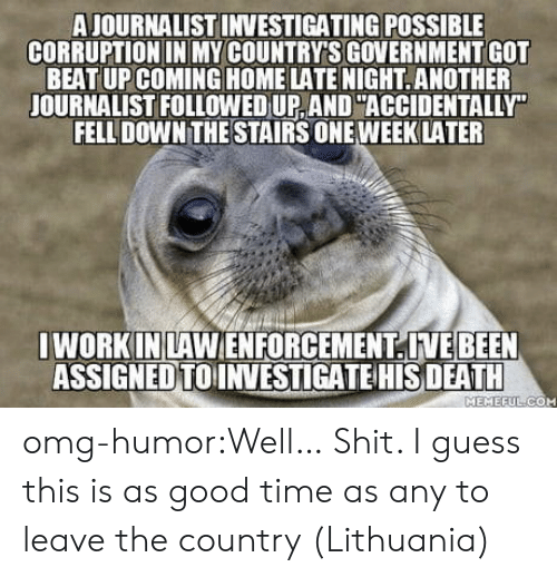 Omg, Shit, and Tumblr: A JOURNALIST INVESTIGATING POSSIBLE  CORRUPTION IN MY COUNTRY'S GOVERNMENT GOT  BEAT UP COMING HOME LATE NIGHT.ANOTHER  JOURNALIST FOLLOWED UP, AND ACCIDENTALLY  FELL DOWN THE STAIRS ONE WEEKLATER  I WORK INLAWENFORCEMENTIVEBEEN  ASSIGNEDTOINVESTIGATE HIS DEATH  MEMEEULICOM omg-humor:Well… Shit. I guess this is as good time as any to leave the country (Lithuania)