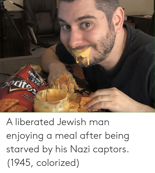 Jewish, Nazi, and Man: A liberated Jewish man enjoying a meal after being starved by his Nazi captors. (1945, colorized)