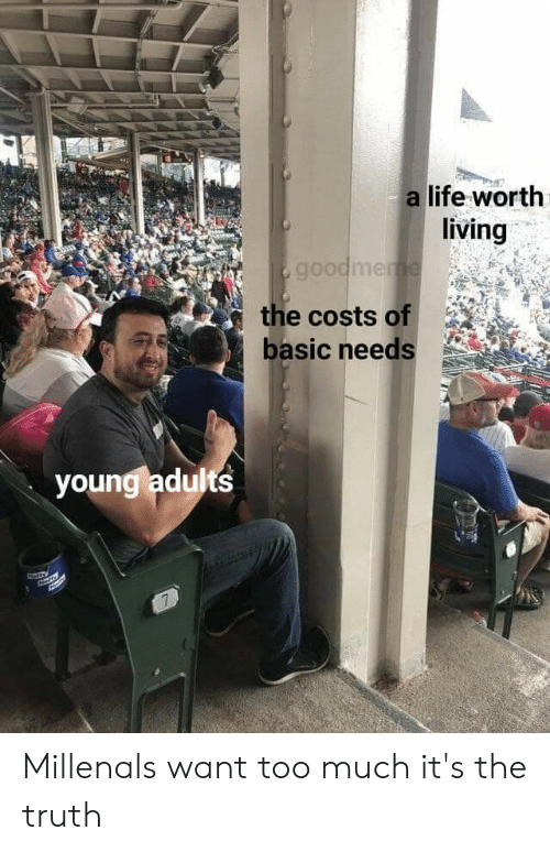 Life, Too Much, and Dank Memes: a life worth  living  goodmeme  the costs of  basic needs  young adults  7% Millenals want too much it's the truth