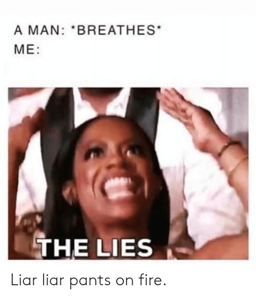 The Lies: A MAN: BREATHES  ME:  THE LIES Liar liar pants on fire.
