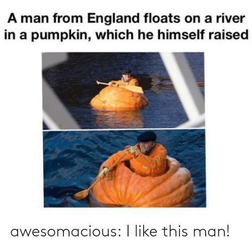 Pumpkin: A man from England floats on a river  in a pumpkin, which he himself raised awesomacious:  I like this man!