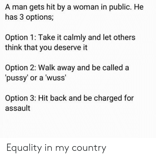 Pussy, Back, and Options: A man gets hit by a woman in public. He  has 3 options;  Option 1: Take it calmly and let others  think that you deserve it  Option 2: Walk away and be called a  pussy' or a wuss'  Option 3: Hit back and be charged for  assault Equality in my country