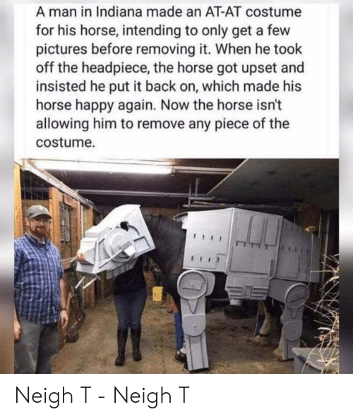 At-At, Happy, and Horse: A man in Indiana made an AT-AT costume  for his horse, intending to only get a few  pictures before removing it. When he took  off the headpiece, the horse got upset and  insisted he put it back on, which made his  horse happy again. Now the horse isn't  allowing him to remove any piece of the  costume. Neigh T - Neigh T