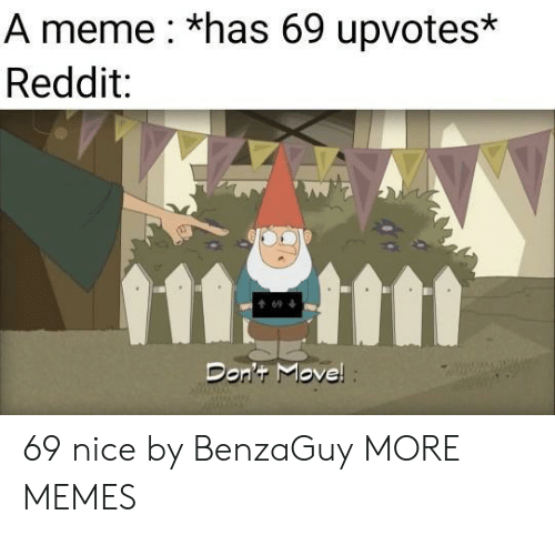 dont move: A meme *has 69 upvotes*  Reddit:  1111  t69  Don't Move! 69 nice by BenzaGuy MORE MEMES