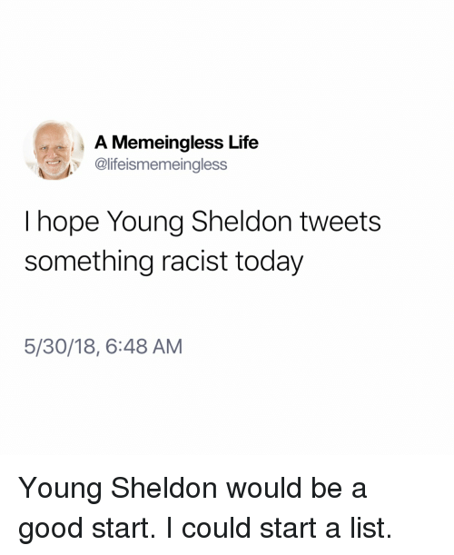 sheldon: A Memeingless Life  @lifeismemeingless  I hope Young Sheldon tweets  something racist today  5/30/18, 6:48 AM Young Sheldon would be a good start. I could start a list.