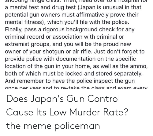 A Mental Test and Drug Test Japan Is Unusual in That