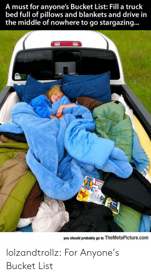 pillows: A must for anyone's Bucket List: Fill a truck  bed full of pillows and blankets and drive in  the middle of nowhere to go stargazing...  you should probably go to TheMetaPicture.com lolzandtrollz:  For Anyone's Bucket List