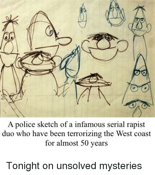 Police, West Coast, and Serial: A police sketch of a infamous serial rapist  duo who have been terrorizing the West coast  for almost 50 years
