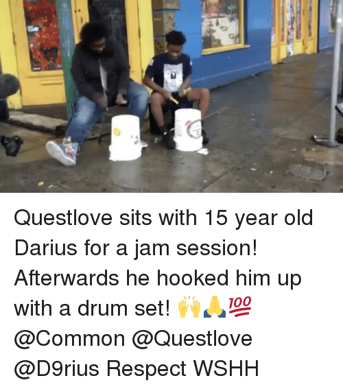 drumming: a Questlove sits with 15 year old Darius for a jam session! Afterwards he hooked him up with a drum set! 🙌🙏💯 @Common @Questlove @D9rius Respect WSHH