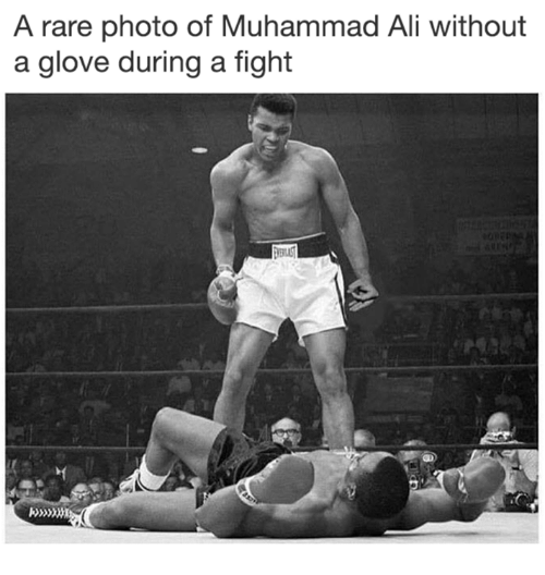 Ali, Memes, and Muhammad Ali: A rare photo of Muhammad Ali without  a glove during a fight