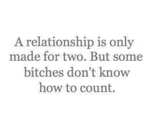 A Relationship: A relationship is only  made for two. But some  bitches don't know  how to count.