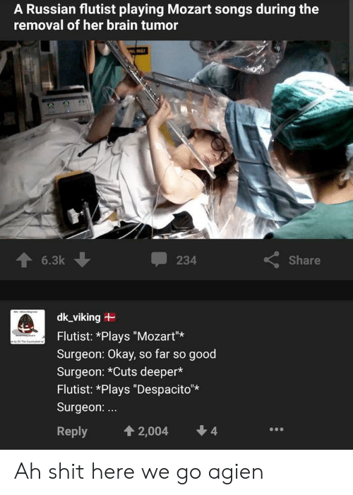 "Shit, Brain, and Good: A Russian flutist playing Mozart songs during the  removal of her brain tumor  NL NG  6.3k  Share  234  dk_viking  Flutist: *Plays ""Mozart""  The y  Surgeon: Okay, so far so good  Surgeon: *Cuts deeper*  Flutist: *Plays ""Despacito*  Surgeon:...  4  4 2,004  Reply Ah shit here we go agien"