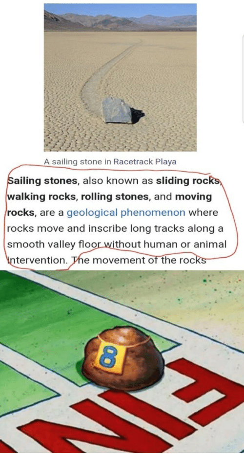 Smooth, Animal, and Phenomenon: A sailing stone in Racetrack Playa  ailing stones, also known as sliding roc  walking rocks, rolling stones, and moving  rocks, are a geological phenomenon where  rocks move and inscribe long tracks along a  smooth valley floor without human or animal  in  tervention. The movement of the rocks
