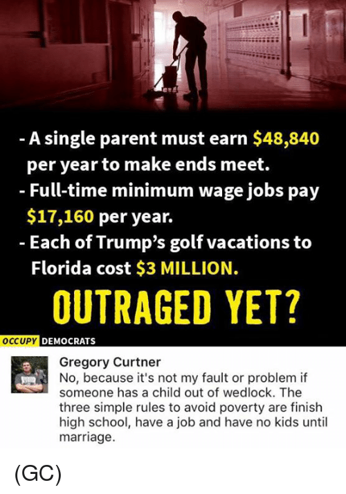 Marriage, Memes, and School: A single parent must earn $48,840  per year to make ends meet.  - Full-time minimum wage jobs pay  $17,160 per year.  - Each of Trump's golf vacations to  Florida cost $3 MILLION.  OUTRAGED YET?  oCCU  UPY DEMOCRATS  Gregory Curtner  No, because it's not my fault or problem if  someone has a child out of wedlock. The  three simple rules to avoid poverty are finish  high school, have a job and have no kids until  marriage. (GC)