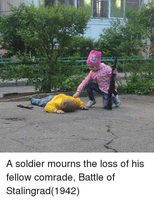 The Loss: A soldier mourns the loss of his fellow comrade, Battle of Stalingrad(1942)