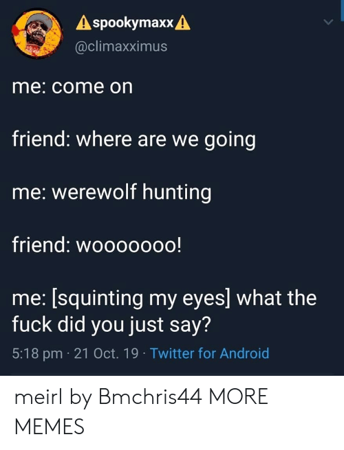 Squinting: A spookymaxx A  @climaxximus  me: come on  friend: where are we going  me: werewolf hunting  friend: wooooooo!  me: [squinting my eyes] what the  fuck did you just say?  5:18 pm 21 Oct. 19 Twitter for Android meirl by Bmchris44 MORE MEMES