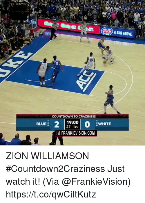 Countdown: A SUB ABOVE  2.  COUNTDOWN TO CRAZINESS  BLUE  19:00  27 1st  WHITE  FRANKIEVISION.COM ZION WILLIAMSON #Countdown2Craziness Just watch it!   (Via @FrankieVision)    https://t.co/qwCiItKutz