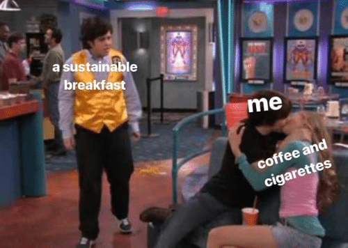 Breakfast, Coffee, and Cigarettes: a sustainable  breakfast  me  coffee and  cigarettes