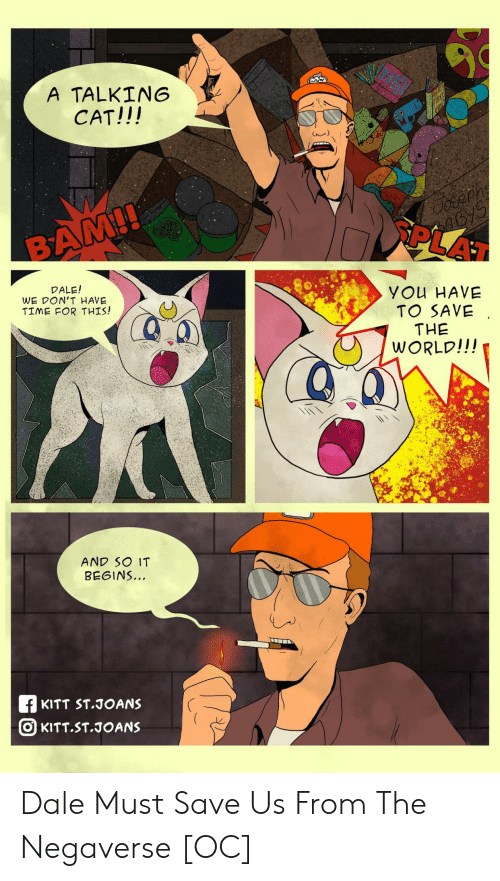 dale: A TALKING  CAT!!!  Cosephe  46/5  PLAT  BAM!!  DALE!  WE DON'T HAVE  TIME FOR THIS!  YOu HAVE  TO SAVE  THE  WORLD!!!  AND SO IT  BEGINS..  f KITT ST.JOANS  O KITT.ST.JOANS Dale Must Save Us From The Negaverse [OC]