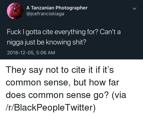 Blackpeopletwitter, Shit, and Common: A Tanzanian Photographer  @joefranciskiaga  Fuck I gotta cite everything for? Can't a  nigga just be knowing shit?  2018-12-05, 5:06 AM They say not to cite it if it's common sense, but how far does common sense go? (via /r/BlackPeopleTwitter)