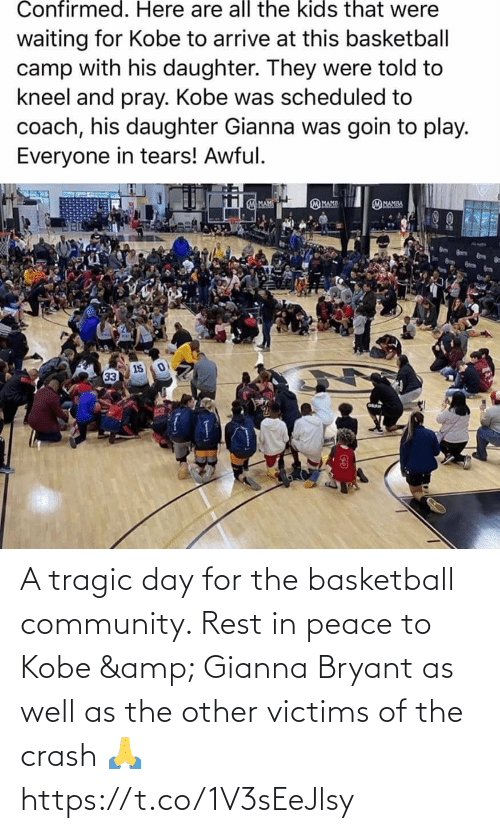 Peace: A tragic day for the basketball community. Rest in peace to Kobe & Gianna Bryant as well as the other victims of the crash 🙏 https://t.co/1V3sEeJlsy