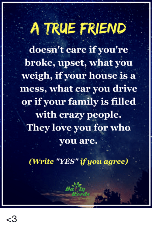 "crazy people: A TRUE FRIEND  doesn't care if you're  broke, upset, what you  weigh, if your house is a  mess, what car you drive  or if your family is filled  with crazy people.  They love you for who  you are.  (Write ""YES"" ifyou agree)  words <3"