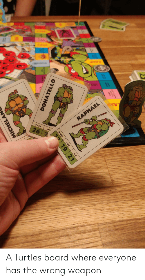 turtles: A Turtles board where everyone has the wrong weapon