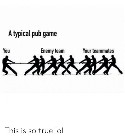 Lol, True, and Game: A typical pub game  You  Enemy team  Your teammates This is so true lol