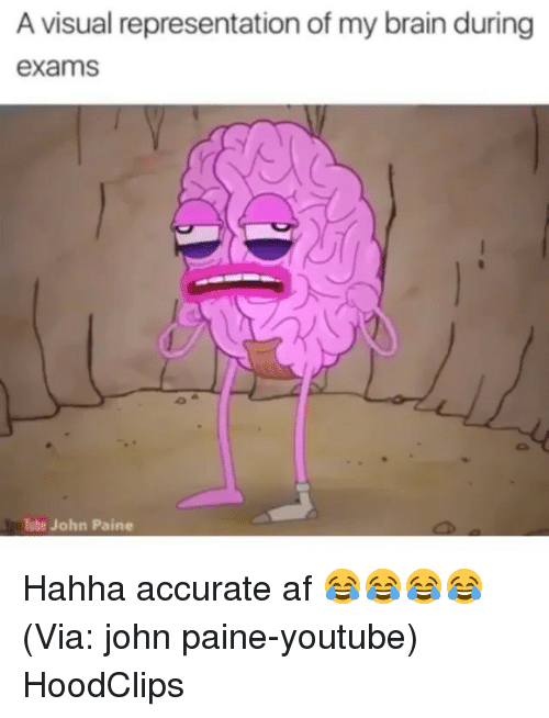 Af, Funny, and youtube.com: A visual representation of my brain during  exams  Tube John Paine Hahha accurate af 😂😂😂😂 (Via: john paine-youtube) HoodClips